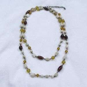 Vintage Long Beaded Necklace Amber Brown White